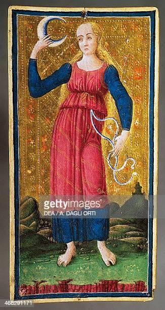 Tarot card depicting the Moon by Antonio Cicognara Italy 15th century