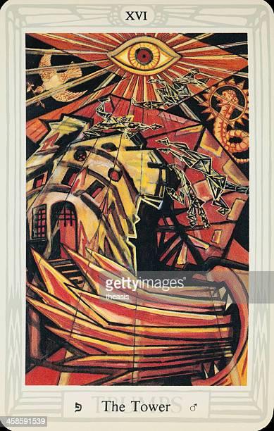 tarjeta tarot de la torre de pulido - aleister crowley fotografías e imágenes de stock