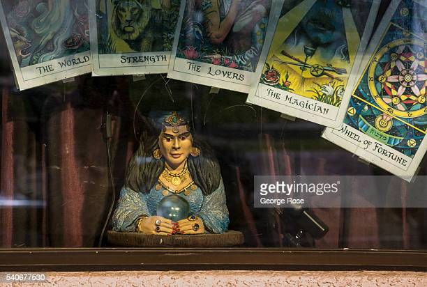 A tarot card/psychic reading storefront window on South Las Vegas Blvd is viewed on June 7 2016 in Las Vegas Nevada Tourism in America's Sin City has...