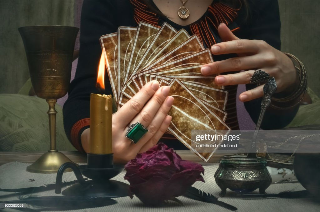 Tarot cards on fortune teller desk table. Future reading concept. : Stock Photo