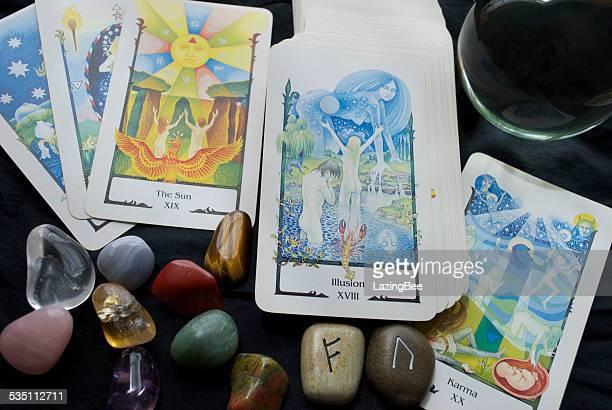 Tarot Reading with a Crystal Ball, Runes & Gemstones