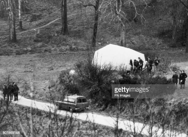 A tarpaulin structure covers the manhole cover under which the body of kidnapped heiress Lesley Whittle was discovered by police