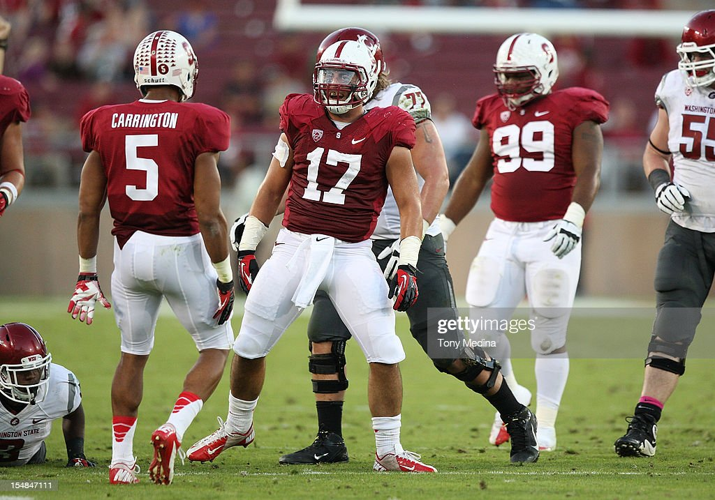 A.J. Tarpley #17 of the Stanford Cardinal celebrates after making a tackle in the third quarter during a game against the Washington State Cougars at Stanford Stadium on October 27, 2012 in Palo Alto, California.