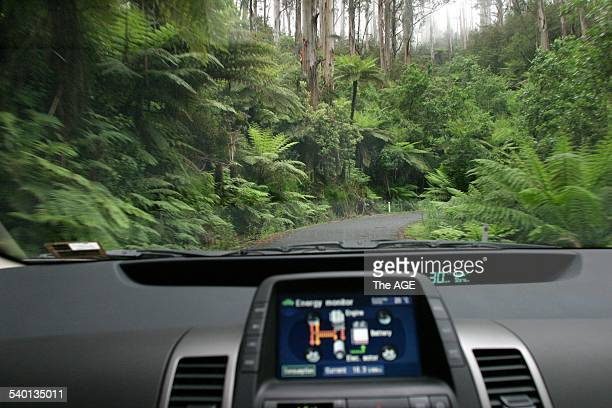 TarraBulga National Park Tarra Valley Toyota Prius petrol electric hybid with satellite navigation 1st December 2004 THE AGE Picture by GARY MEDLICOTT