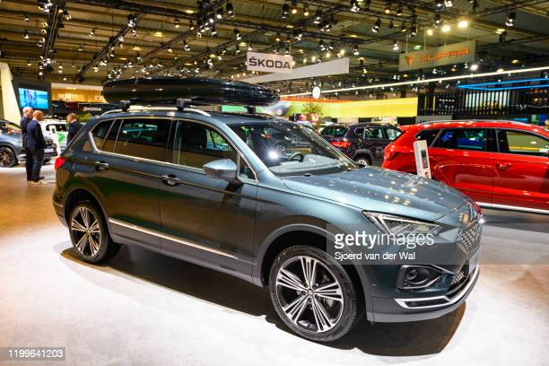 Tarraco 6midsize crossover SUV on display at Brussels Expo on January 9 2020 in Brussels BelgiumThe Tarraco is available with various petrol and...