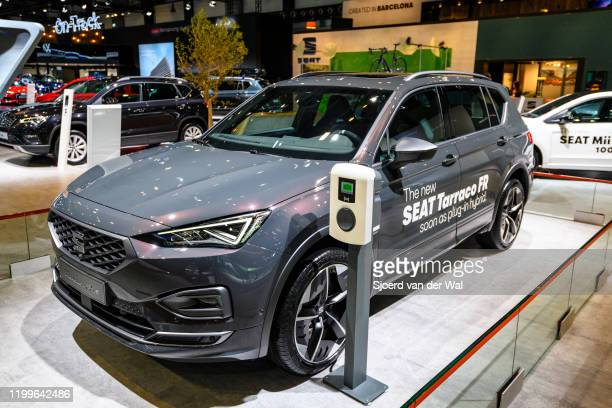 Tarraco FR plug-in hybryd mid-size crossover SUV on display at Brussels Expo on January 9, 2020 in Brussels, Belgium.The Tarraco is available with...