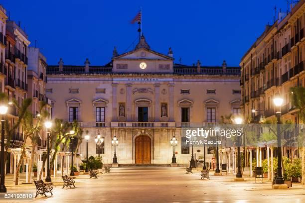 tarragona city hall at night - tarragona stock photos and pictures