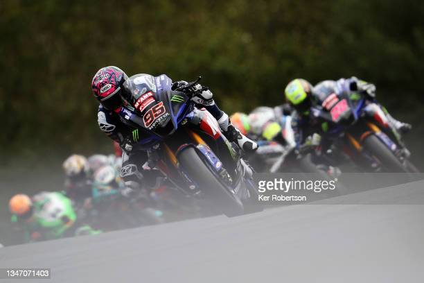 Tarran Mackenzie of McAMS Yamaha rides on his way to winning race two and clinching the 2021 British Superbike Championship at Brands Hatch on...