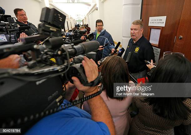 Tarrant County Sheriff Dee Anderson talks with reporters after Tonya Couch mother of Ethan Couch appeared before state District Judge Wayne Salvant...