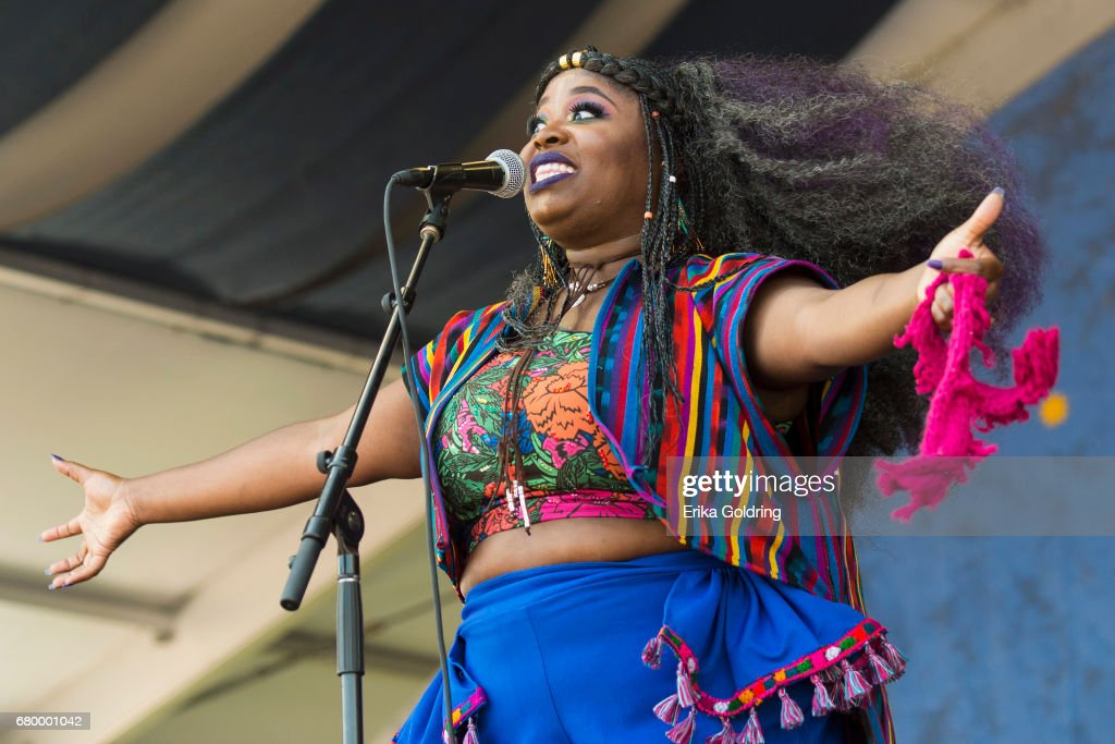 Tarriona Ball of Tank and the Bangas performs at the 2017 New Orleans Jazz & Heritage Festival at Fair Grounds Race Course on May 6, 2017 in New Orleans, Louisiana.