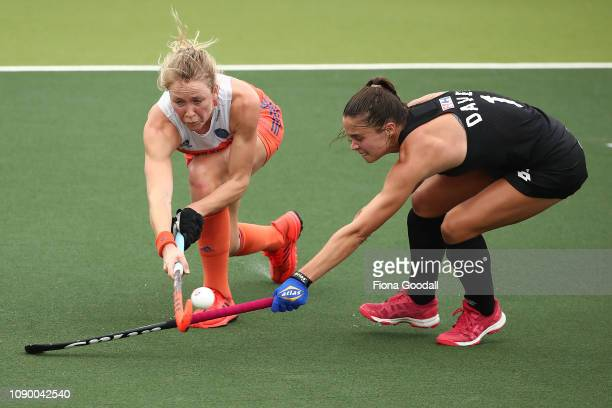 Tarryn Davey of New Zealand makes a tackle during the Women's FIH Field Hockey Pro League match between New Zealand and the Netherlands at North...