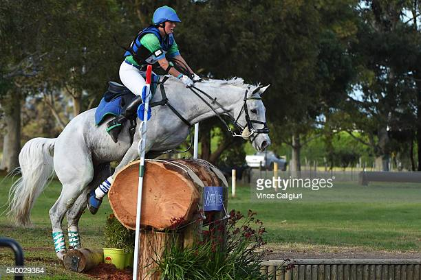 Tarryn Proctor of Victoria approaching the jump before coming off her horse Esb Irish Quest and crashes in the water jump in the CCI 3 star Cross...
