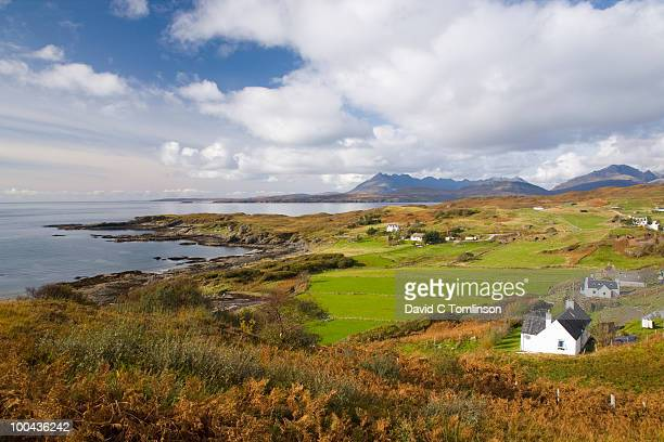 tarskavaig and the cuillin hills, skye, scotland - remote location stock pictures, royalty-free photos & images