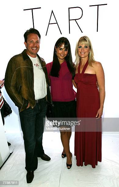 Tart owner Jaime Finegold actress Jordana Brewster and owner Dana Finegold pose at the Tart Spring 2008 fashion show during Mercedes Benz Fashion...