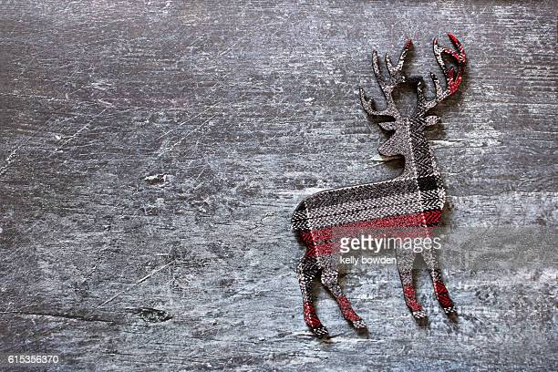tartan check fabric christmas reindeer decoration