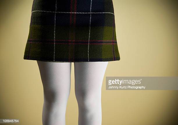 Tartan Skirt with White Tights