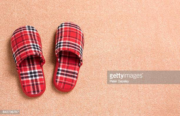 tartan slippers with copy space - slipper stock pictures, royalty-free photos & images