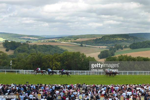 Tartouche with jockey Seb Sanders wins the Lillie Langtry Fillies' Stakes