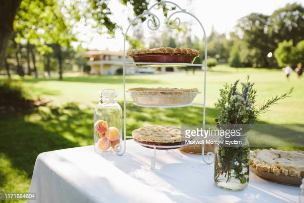 tarts on rack against trees - monty shadow stock photos and pictures