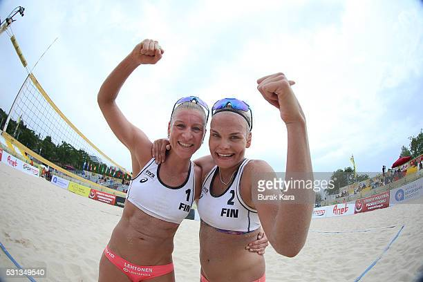 Taru Lahti and Riikka Lehtonen of Finland celebrate their win during the semi final match in the 5th day of the FIVB Antalya Open beach volley...