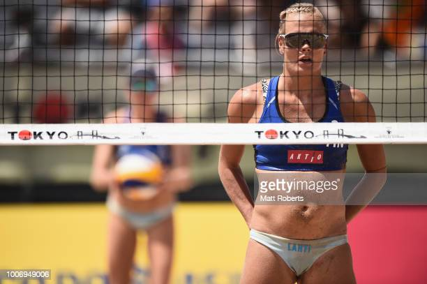 Taru LahtiLiukkonen of Finland looks on during the Women's semifinal match between Anniina Parkkinen and Taru LahtiLiukkonen of Finland and Ingrid...