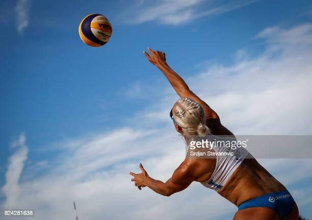 Taru Lahtiliukkonen of Finland serves the ball during the Women's Pool F Main draw match between Finland and Paraguay on July 29 2017 in Vienna...