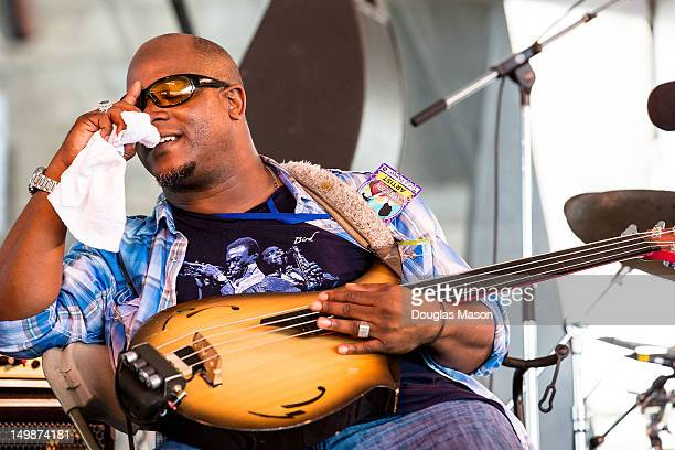 Tarus Mateen of Jason Moran and The Bandwagon performs during the 2012 Newport Jazz Festival at Fort Adams State Park on August 5 2012 in Newport...