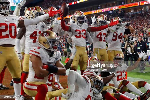 Tarvarius Moore of the San Francisco 49ers celebrates after intercepting a pass by Patrick Mahomes of the Kansas City Chiefs during the fourth...