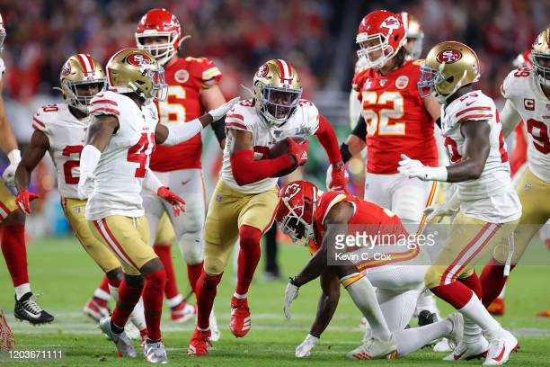 Tarvarius Moore of the San Francisco 49ers celebrates after a interception against the San Francisco 49ers during the fourth quarter in Super Bowl...
