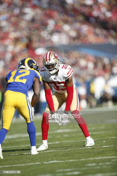 Tarvarius Moore of the San Francisco 49ers defends during the game against the Los Angeles Rams at the LA Memorial Coliseum on December 30 2018 in...