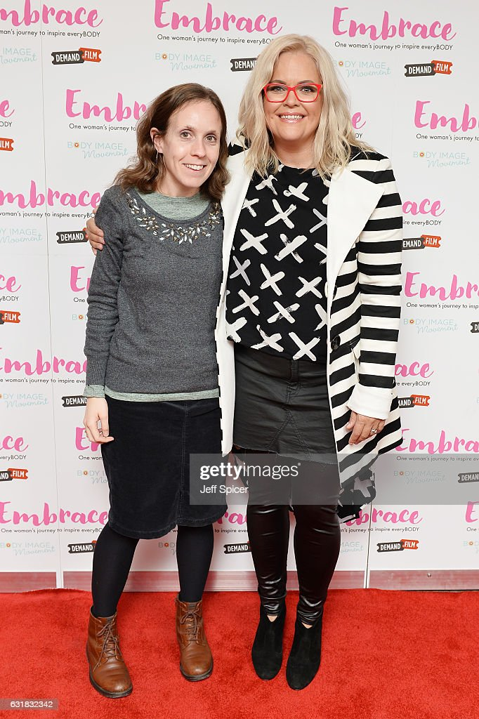 Taryn Brumfitt (R) meets fans ahead of the UK premiere of 'Embrace' at Odeon Covent Garden on January 16, 2017 in London, England.