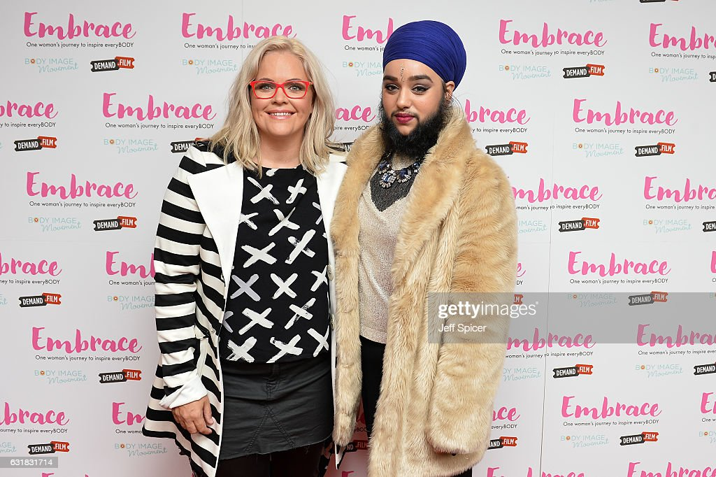 Taryn Brumfitt (L) meets Harnaam Kaur ahead of the UK premiere of 'Embrace' at Odeon Covent Garden on January 16, 2017 in London, England.