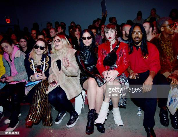 Taryn Manning Tia Garison and Troy Ramadin sit Front Row at The Blonds during New York Fashion Week at Spring Studios on February 13 2018 in New York...