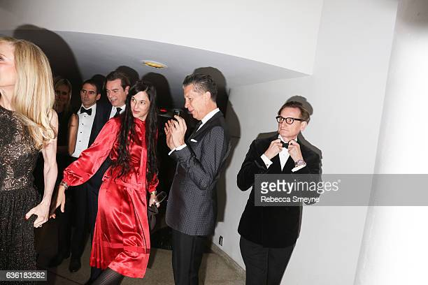 Taryn Simon Stefano Tonchi and Hamish Bowles attend the Guggenheim International Gala at the Solomon R Guggenheim Museum on November 17 2016 in New...