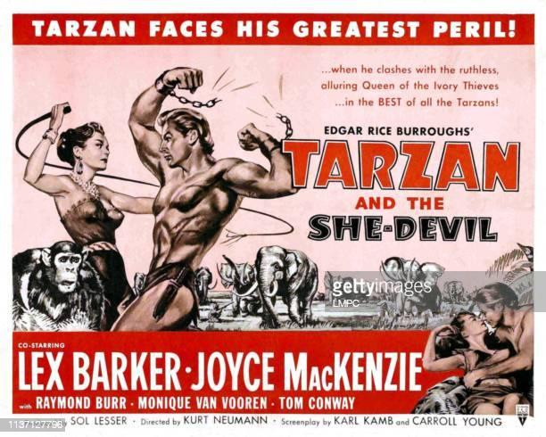Tarzan And The Shedevil lobbycard Monique van Vooren Lex Barker Joyce MacKenzie 1953