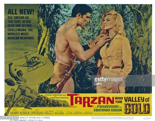 Tarzan And The Valley Of Gold, US lobbycard, from left: Mike Henry, Nancy Kovack, 1966.