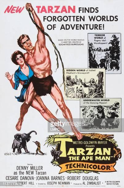 Tarzan poster THE APE MAN US poster from left Joanna Barnes Denny Miller 1959