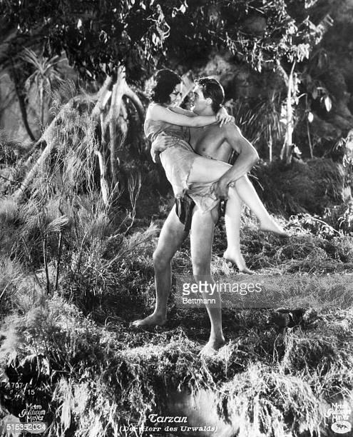 """Tarzan the Apeman"" Johnny Weissmuller and Maureen O' Sullivan. MGM Production, 1932."