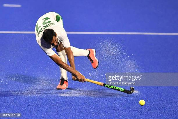 Tasawar Abbas of Pakistan shoots during the Men's Hockey Semifinals match between Japan and Pakistan on day twelve of the Asian Games on August 30...