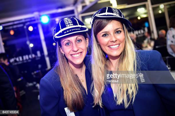 Tash Farrant and Alex Hartley attend the England Players' Dinner with past and present England cricketers at Lord's on February 21 2017 in London...