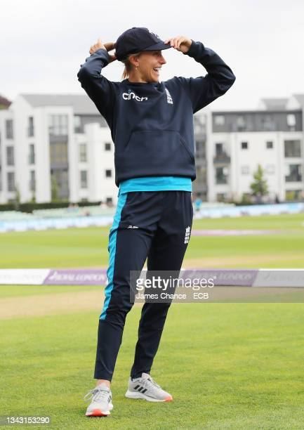 Tash Farrant of England is awarded her Kent cap prior to the 5th One Day International match between England and New Zealand at The Spitfire Ground...