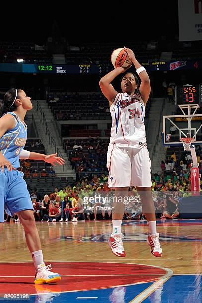 Tasha Humphrey of the Detroit Shock takes a jump shot against Candice Dupree of the Chicago Sky during the WNBA game on July 16 2008 at The Palace of...