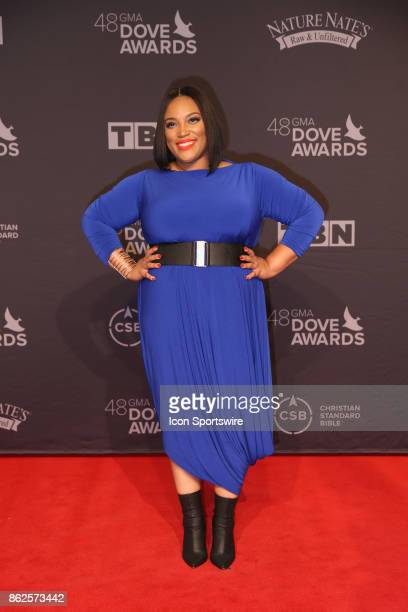 Tasha Page arrives at the 48th Annual GMA Dove Awards red carpet at Allen Arena on October 17 2017 in Nashville TN