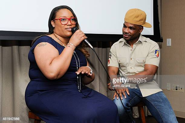 Tasha PageLockhart and Kirk Franklin attend a listening session for her Here Right Now album at BMI on July 9 2014 in New York City