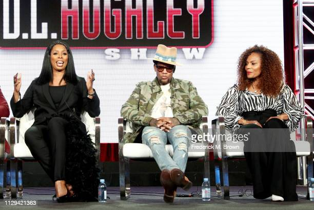 Tasha Smith of 'Uncensored' and DL Hughely and Jasmine Sanders of 'The DL Hughley Talk Show' speak during the TV One/CleoTV segment of the 2019...