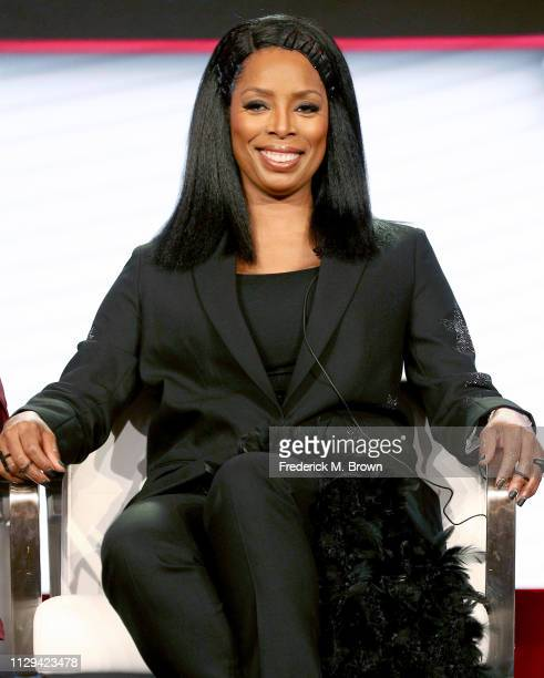 Tasha Smith of 'Uncensored' speaks during the TV One/CleoTV segment of the 2019 Winter Television Critics Association Press Tour at The Langham...