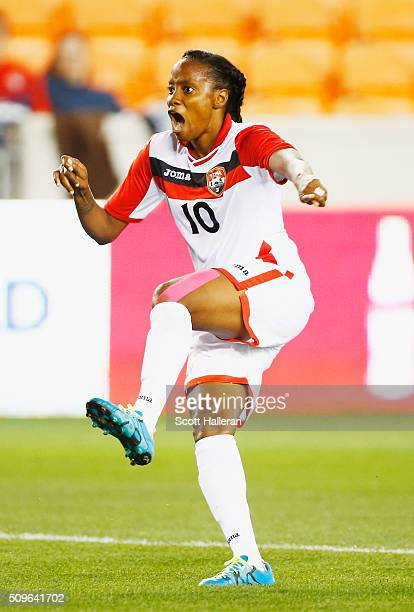Tasha StLouis of Trinidad Tobago celebrates after scoring a second half goal against Guatemala during the 2016 CONCACAF Women's Olympic Qualifying at...