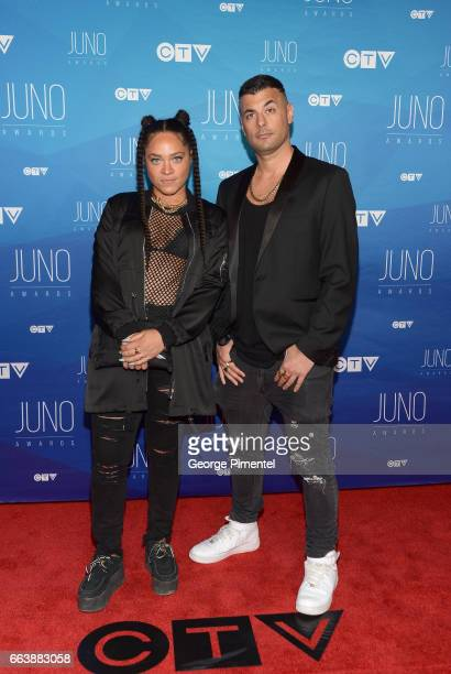Tasha The Amazon and guest arrive at the 2017 Juno Awards at Canadian Tire Centre on April 2 2017 in Ottawa Canada
