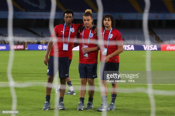 Tashan Oakley Boothe Joel Latibeaudiere Nya Kirby of England pose for photographers during training session ahead of the FIFA U17 World Cup India...