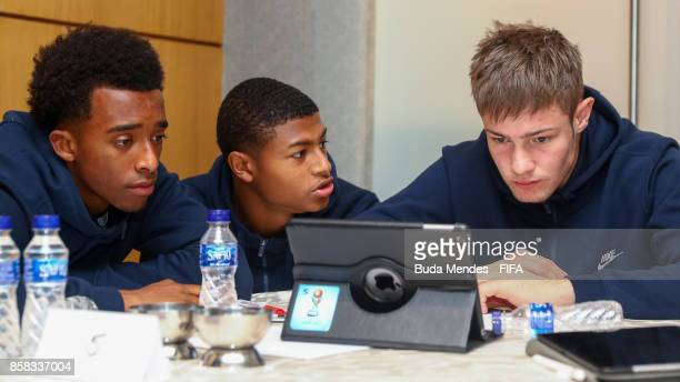 Tashan Oakley Boothe Rhian Brewster and the goalkeeper Josef Bursik of England attend a FIFA Ethics Workshop ahead of the FIFA U17 World Cup India...
